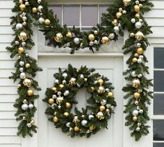 Outdoor Ornament Pine Wreath - Gold/Silver