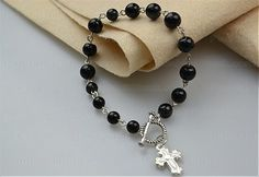 Beaded bracelets tutorial-How to make rosary bracelet with eyepins