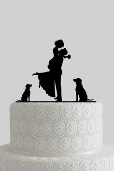 Wedding Cakes Custom Wedding Cake Toppers, Mr and Mrs Cake Topper, Bride and Groom Silhouette with Dogs, Personalize Last Name, Acrylic Cake Topper Wedding Bells, Fall Wedding, Our Wedding, Dream Wedding, Wedding Ceremony, Custom Wedding Cake Toppers, Wedding Topper, Wedding Cakes, Bride And Groom Silhouette