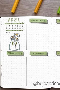 20 Adorable April Weekly Spreads For Bullet Journal Addicts - Crazy Laura - - Picking a new theme for your bullet journal can be a tough decision! These awesome April weekly spread examples will give you the inspiration you need! Bullet Journal School, April Bullet Journal, Bullet Journal Weekly Layout, Bullet Journal Notebook, Bullet Journal Aesthetic, Bullet Journal Ideas Pages, Bullet Journal Inspiration, Bullet Journal Ideas How To Start A, Work Journal