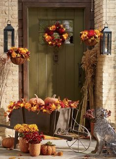 Welcoming Entry   Let your entrance reflect the season. Hang pots and use branches or decorative trees to bring height to your doorway. When possible, let the colors of the season guide you.