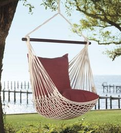 Outdoor Hanging Rope Hammock Swing Chair with Set of 2 Pillows, 37' W x 60' H, Forest Green