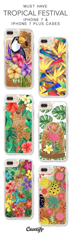 Must Have Tropical Festival iPhone 7 Cases & iPhone 7 Plus Cases. More protective liquid glitter Summer Theme iPhone case here > https://www.casetify.com/en_US/collections/iphone-7-glitter-cases#/?vc=CG7CZfRXqp