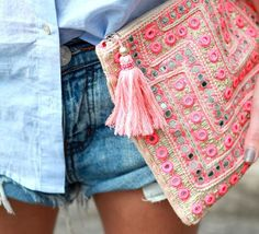 embroidered / embellished summer clutch.