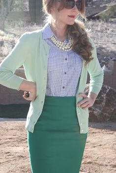 blue Gingham collared shirt under a mint cardiagan sweater, and strong green skirt | womens career professional clothes