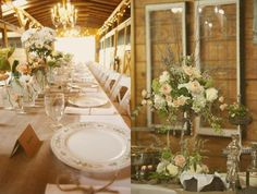 Barn wedding reception  Linen and fine weave burlap, iron and glass accents.