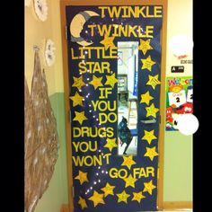 Red Ribbon Week Door Decorating Contest- winner again! I used twinkle lights and had stars hanging from the ceiling!