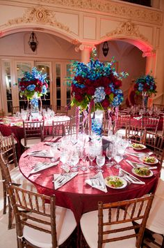 A Blue and Maroon Wedding. Love these colours together.