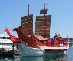 El buque de la embajada japonesa a China de la dinastía Tang reproducido para la Exposición Universal de Shanghái