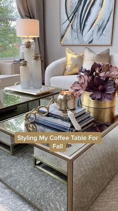 Coffee Table Decor Living Room, Glam Living Room, Decor Home Living Room, Elegant Living Room, Fall Home Decor, Living Room Designs, Home Decor Shelves, Living Room Decor Inspiration, Home Design Decor