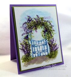 Art Impressions Rubber Stamps: Ai Wonderful Watercolor: Art Impressions Wooden Garden Gate, Foliage Set, Flower Set ... handmade water color card.