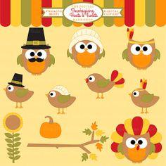 thanksgiving clipart owls birds clip art  by DigitalBakeShop