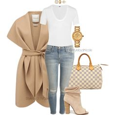Untitled #3226 by stylebydnicole on Polyvore featuring Helmut Lang, Forever New, Current/Elliott, Kristin Cavallari, Louis Vuitton and Versace
