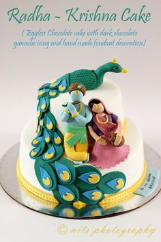 like the Radha krishna cake. Just need some features on these radha Krsna fondant figures Chocolate Ganache Icing, Eggless Chocolate Cake, Happy Birthday Krishna, Happy Birthday Cakes, Themed Wedding Cakes, Themed Cakes, Fondant Cakes, Cupcake Cakes, Fondant Figures