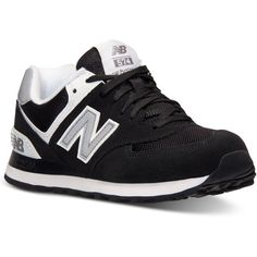 New Balance Women's 574 Casual Sneakers from Finish Line ($75) ❤ liked on Polyvore featuring shoes, black, suede shoes, new balance, breathable shoes, new balance shoes and shock absorbing shoes