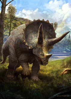 *Triceratops Artwork by Eduardo Domínguez Freelance Concept Artist Dinosaur Era, Dinosaur Images, Dinosaur Pictures, Dinosaur Fossils, Prehistoric Wildlife, Prehistoric World, Prehistoric Creatures, Jurrassic Park, Dinosaur Drawing