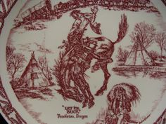 "RARE Vintage Vernon Kilns Plate Pendleton Oregon ""Let er Buck"" NOT Wallace China"