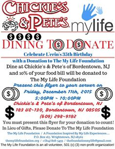 L'erin Donates His Birthday - Chickie's and Pete's! www.themylifefoundation.org The My Life Foundation #shares it with these #hashtags / #themylifefoundation #allvolunteer #501c3 #npo #nonprofit #charity #nonprofitorganization #mylife #life #foundation #NJ #Wrightstown #NewJersey #fortdix #mcguireafb #bordentown #bordentownnj #Chickiesandpetes #Events #Birthday #Donate #Contribute #GiveBack #GreatGiving #Philanthropy #Dining #Like #Share