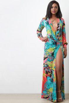 Abstract Watercolor Deep Slit Long Sleeves Maxi Dress