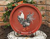 Rooster Handpainted Upcycled Tray..Barn Red..Kitchen Decor..Rooster Collector