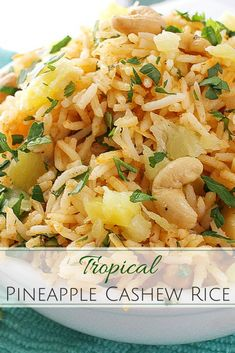Tropical Coconut Pineapple Cashew Rice - The Chunky Chef - A fantastic rice dish that has all the great flavors of the tropics… sweet coconut, red curry, fresh pineapple and savory roasted cashews! Side Dish Recipes, Rice Recipes, Asian Recipes, Vegetarian Recipes, Cooking Recipes, Healthy Recipes, Ethnic Recipes, Asian Foods, Chinese Recipes