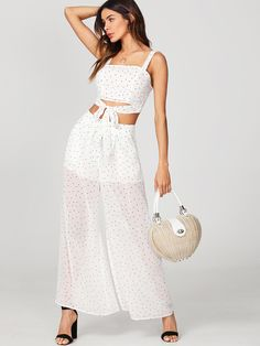 7a572d2fe13a To find out about the Zip Back Crop Top And Semi Sheer Palazzo Pants Set at  SHEIN, part of our latest Two-piece Outfits ready to shop online today!