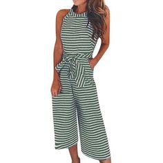15b8c524e581 Free Shipping Women Casual Striped Jumpsuit Wide Leg Pants Sleeveless  Rompers 80608 Romper Pants