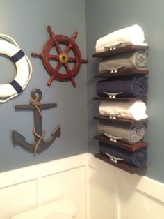 Handmade Pallet Wood Nautical Towel Rack By Oneandasaw On Etsy Boys Bathroom Themes Beach Decor