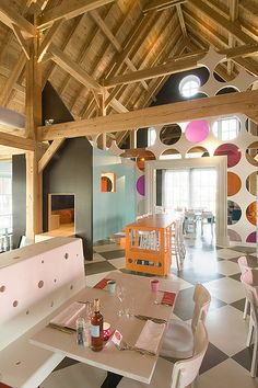 Barn House: Exposed Wood Ceiling with Polka Dot Wall
