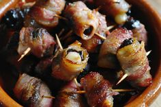 Stuffed Prunes and Bacon; doesn't really need a recipe, but a reminder of this old-fashioned appetizer is always good. Bourbon party food.
