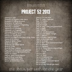 Project 52. 52 topics, challenges, themes and focuses to jump start your creativity and improve your photography.