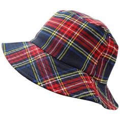87fac6d5e96 Navy Blue Classic Plaid Print Bucket Hat ( 20) ❤ liked on Polyvore  featuring accessories