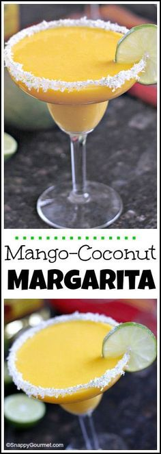 Mango Coconut Margarita Cocktail recipe - easy tropical drink! SnappyGourmet.com #cocktailrecipes