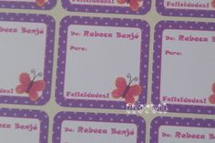 Etiqueta De/Para Borboleta rosa  :: flavoli.net - Papelaria Personalizada :: Contato: (21) 98-836-0113 vendas@flavoli.net