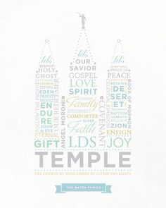 HM Gallery - LDS Temple Word Art I cannot wait to make my own and hang it on my wall!!!!