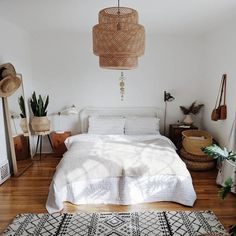 woven chandelier in bedroom