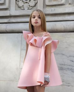 Pink Frilled Trapeze Dress