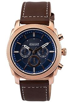 AIMANT Mens Jackson Rose Gold with Brown Leather Band Watch GJA120L52RG ** You can find more details by visiting the image link. (Note:Amazon affiliate link) #CoolandAffordableWatches