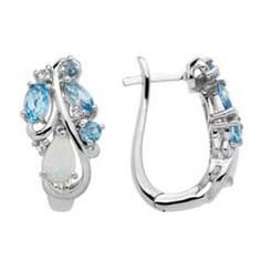 Pear-Shaped Lab-Created Opal, Swiss Blue Topaz and White Topaz Hoop Earrings in Sterling Silver