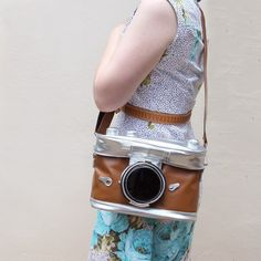 Large Brown Camera Bag - fits SLR - Candy Stripe Cloud