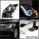2003-2007 Infiniti G35 2DR (HID Version)CCFL DRL LED Projector Headlights ( Black)