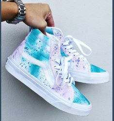 shoes spraypainted high top sneakers white shoes purple splatter paint sk8-hi pastel vans sneakers white blue vans custom shoes