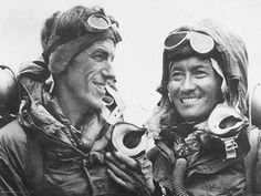 Hillary and tenzing//Edmund Hillary and Tenzing Norgay from New Zealand and Nepal respectively became the first persons to summit Mt Everest ; 'Top of the World' in Nepal in 1953 Monte Everest, Top Of Mount Everest, Climbing Everest, And So It Begins, Mountain Climbing, Alpine Climbing, Rock Climbing, Top Of The World, Mountaineering