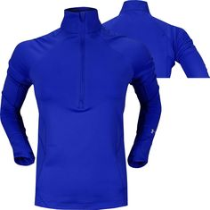 Under Armour Women's Verve Half-Zip Golf Pullovers in Moon mist heather with alpine blue accents (style UW1291-1003)