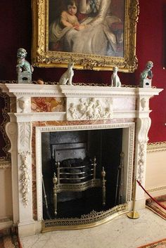 ♜ Shabby Castle Chic ♜ rich and gorgeous home decor - Saltram House - fireplace. Love the fireplace! Fireplace Mantle, Fireplace Surrounds, Fireplace Design, White Fireplace, Foyers, English Country Manor, English Cottages, Light My Fire, Marble Fireplaces