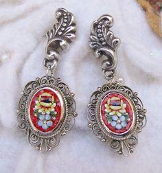 Winter Vintage Red Mosaic Filigree Earrings Rocking by WillowBloom
