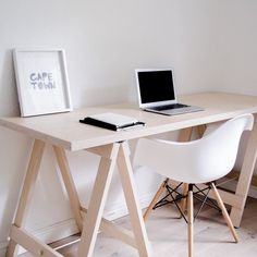Our trestle desk (now sold as a unit) is hand made from 100% birch plywood and sealed with an eco-friendly non-yellowing varnish. Perfect for a Scandi style work space. -- Available in the Furniture and Home Office categories at www.monoshop.co.za