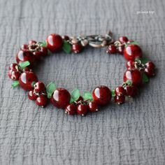 handmade_bracelet, #berries_bracelet, romantic_bracelet, charm_bracelet, #sweet_bracelet, #burgundy_bracelet, marble_burgundy, beads, leaf, #berries, #cherry, #bunch, glass, jewellery, gift