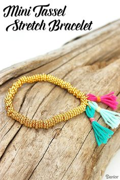 DIY Mini Tassel bracelet. Cute jewelry idea, easy bead bracelet. Love making my own accessories!
