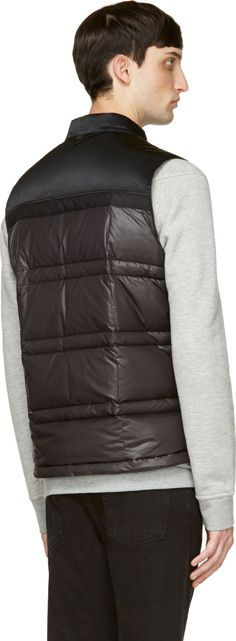 White Mountaineering Black Nylon Quilted Down Vest